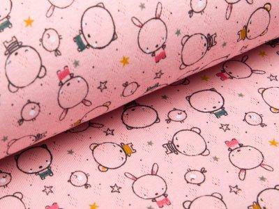 Baumwolle - Feinstrick - Jersey - Pointoille Lochmuster - Tiere - rosa