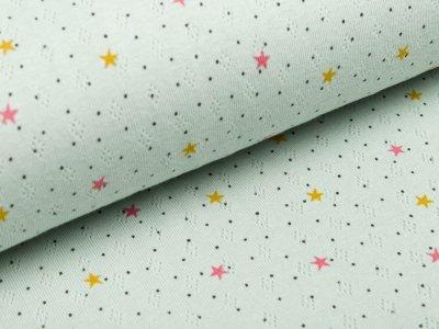 Baumwolle - Feinstrick - Jersey - Pointoille Lochmuster - Sterne - mint
