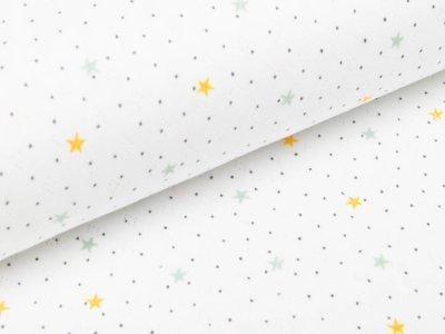 Baumwolle - Feinstrick - Jersey - Pointoille Lochmuster - Sterne - weiß