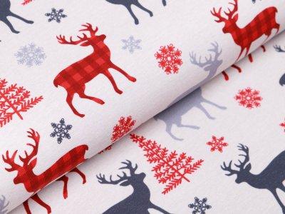 Sweat French Terry Swafing Rudolph - Rotwild im Wald - helles grau