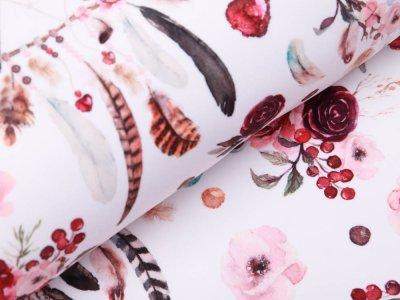 Softshell Jackenstoff - florale Traumfänger - weiß