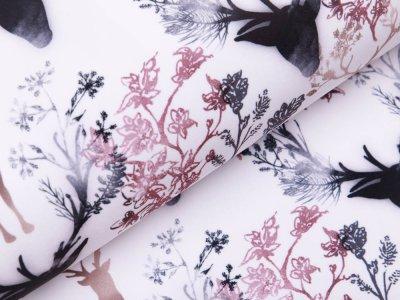 Softshell Jackenstoff - Hirsche und Blumen - weiß