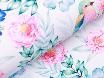 Softshell Jackenstoff - florale Vögelchen - weiß