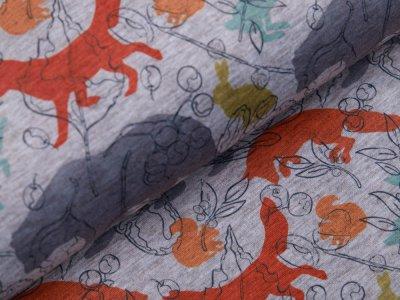 Alpenfleece Swafing Patrick - verschiedene Waldtiere - meliert grau