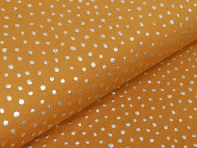 Jersey mit Foliendruck - silberne Punkte - ocker