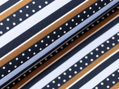 KDS Queen's Collection Afina - Jersey Viskose - Streifen und Punkte - dunkelblau