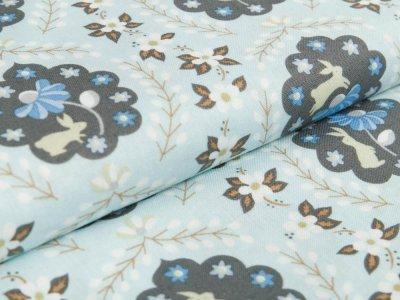 Webware Baumwolle Blend Fabrics - Hasen und Blumen - altblau