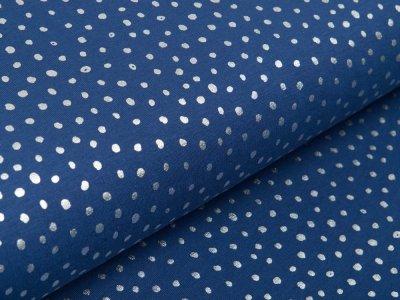 Jersey mit Foliendruck - silberne Punkte - indigoblau