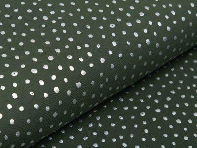 Jersey mit Foliendruck - silberne Punkte - olivgrün