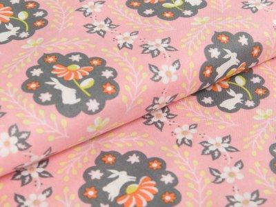 Webware Baumwolle Blend Fabrics - Hasen und Blumen - altrosa