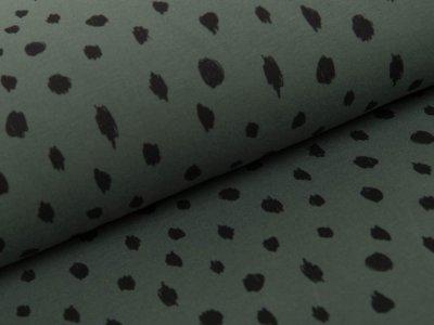 Angerauter Sweat by Poppy - Punkte - dunkelgrün