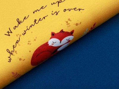Jersey Swafing PANEL ca. 65 x 160 cm My little Foxy by Christiane Zielinski - schlafender Fuchs - senf/rosa/petrol