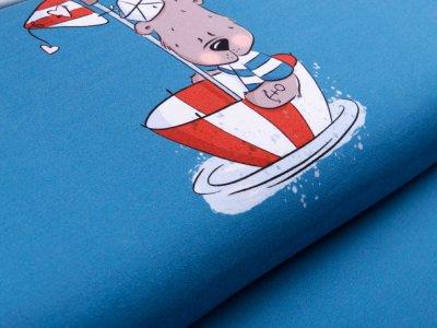 Sweat French Terry Captain Weltenbummler by Emmapünktchen PANEL ca. 63 x 150 cm - Teddy als Capitain - graublau