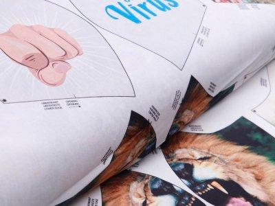 Webware Baumwolle Digitaldruck PANEL ca. 60 x 145 cm für Behelfsmasken - 12 verschiedene Motive - weiß