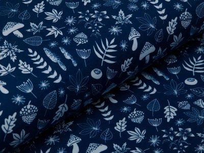 Jersey Swafing My little Foxy by Christiane Zielinski - Blätter und Früchte der Natur - dunkles blau