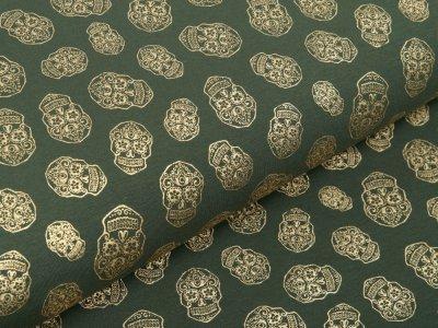 Jersey mit Foliendruck - goldene geblümte Skulls - olivgrün