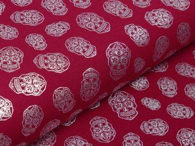 Jersey mit Foliendruck - silberne geblümte Skulls - bordeaux