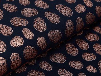 Jersey mit Foliendruck - bronzene geblümte Skulls - marine