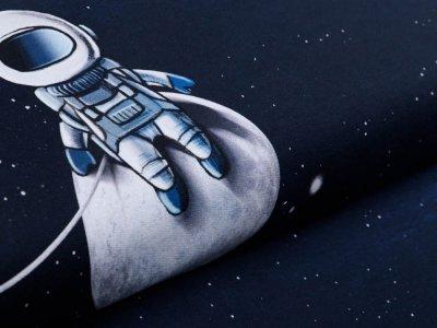 Sweat French Terry Swafing Moonwalker by Thorsten Berger PANEL ca. 75 x 155 cm - kleiner Astronaut - nachtblau