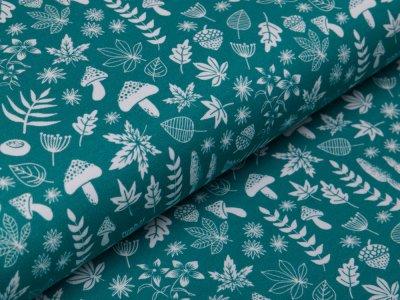 Jersey Swafing My little Foxy by Christiane Zielinski - Blätter und Früchte der Natur - smaragd