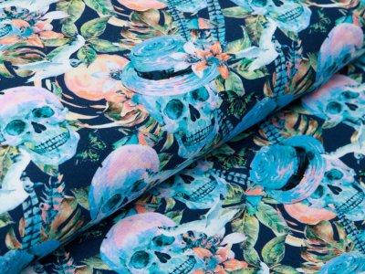 Jersey Digitaldruck - Skulls und Schmetterlinge - nachtblau