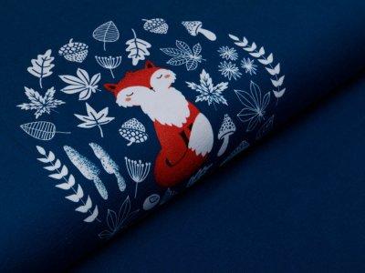 Jersey Swafing PANEL ca. 65 x 160 cm My little Foxy by Christiane Zielinski - sitzender Fuchs - smaragd/rosa/petrol