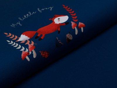 Jersey Swafing PANEL ca. 65 x 160 cm My little Foxy by Christiane Zielinski - laufender Fuchs - senf/rosa/petrol