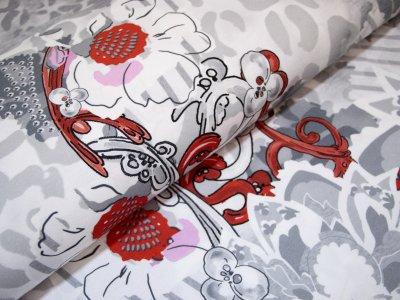 KDS Queen's Collection Christina - Jersey Viskose PANEL ca. 80cm x 160cm - Abstraktes Blumenmotive auf Animalprint - weiß/grau