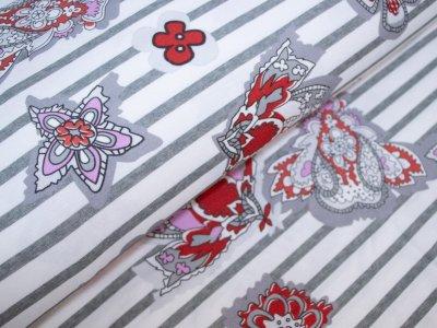KDS Queen's Collection - Jersey Viskose PANEL ca. 80cm x 160cm - Abstrakte Motive auf Streifen - weiß/grau