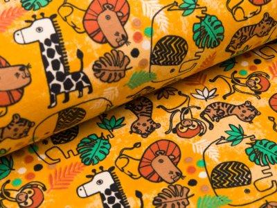 Sweat French Terry - verschiedene Dschungeltiere - gelb