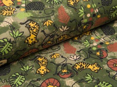 Sweat French Terry - verschiedene Dschungeltiere - dunkles grün