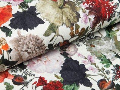 Viskose Jersey Digital - Blumenbouquet - altweiß