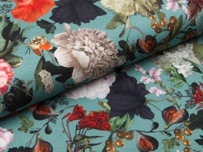 Viskose Jersey Digital - Blumenbouquet - altmint
