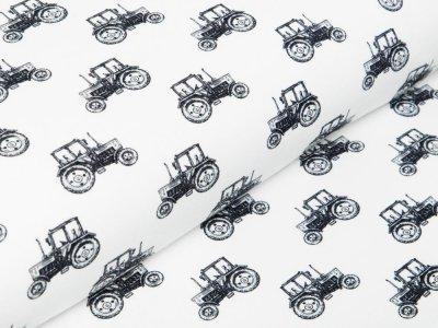 Jersey Digitaldruck - Traktoren - wollweiß