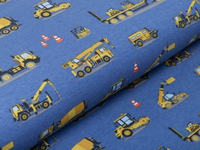 Jersey Digitaldruck - verschiedene Baufahrzeuge - blau