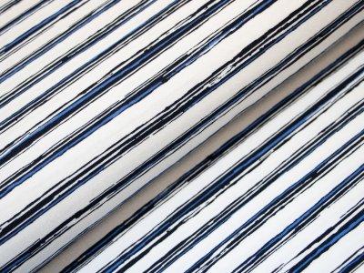 KDS Queen's Collection - Jersey Viskose - unregelmäßige Streifen - weiß/blau/schwarz