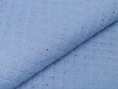Musselin Double Gauze Rautenstepper mit Foliendruck - unregelmäßige Punkte - uni blau
