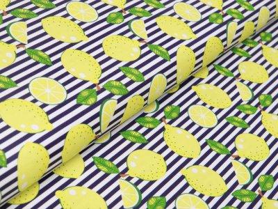 Canvas Swafing Happy - Zitronen auf Streifen - weiß