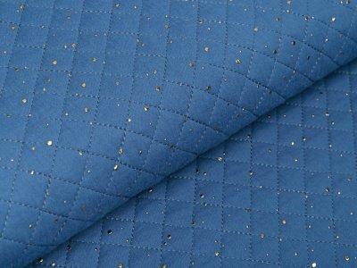 Musselin Double Gauze Rautenstepper mit Foliendruck - unregelmäßige Punkte - uni indigoblau