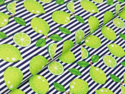 Canvas Swafing Happy - Limetten auf Streifen - weiß