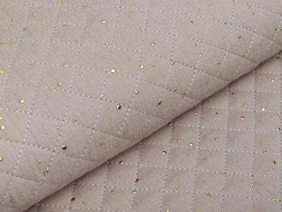Musselin Double Gauze Rautenstepper mit Foliendruck - unregelmäßige Punkte - uni beige