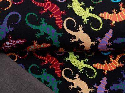 Jackenstoff NANO Softshell Swafing Fiete - buntgemusterte Geckos - schwarz