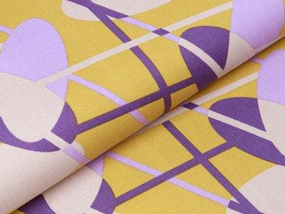 Twill Baumwolle by Tillisy - ovale Kreise und Streifen - ocker
