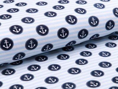Jersey - Anker auf Streifen - weiß/blau