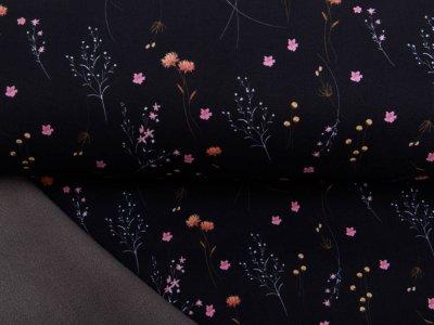 Jackenstoff NANO Softshell Swafing Fiete - Strohblumen - schwarz
