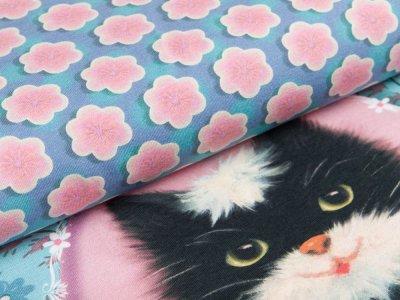 Jersey Digitaldruck Penelope Cat by Fiona Hewitt PANEL ca. 100 x 140 cm - Kätzchen im Blumenmedaillon - petrol/rosa