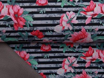 Jackenstoff NANO Softshell Swafing Fiete - Blumen auf Streifen - grau