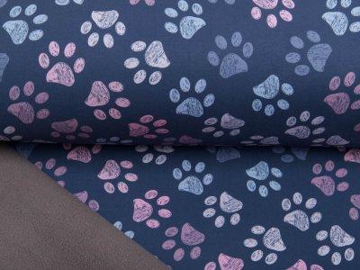Jackenstoff NANO Softshell Swafing Fiete - Hundpfötchen - grau