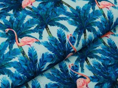 Softshell Jackenstoff Digitaldruck - Flamingos und Palmen - pastellmint