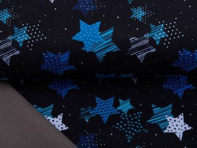Jackenstoff NANO Softshell Swafing Fiete - gemusterte Sterne - schwarz/blau